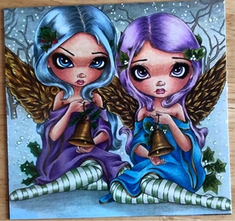 "TWIN CHRISTMAS ANGELS ! - 4 x 4"" MAGNET"
