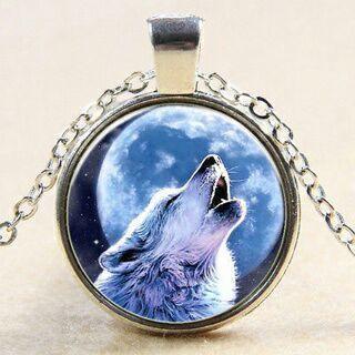 Vintage Wolf Cabochon Tibetan Silver Glass Chain Pendant Necklace
