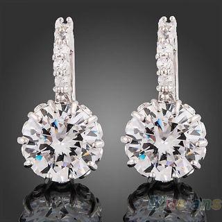 New Women's 18k White Gold Gp Clear Crystal Zircon Cz Earrings