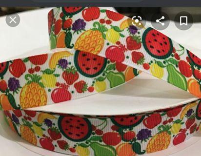 "Fruits 7/8"" grosgrain ribbon 1 yard NEW"