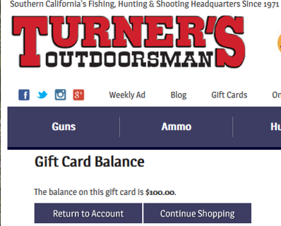$100 gift card code Turners Outdoorsman