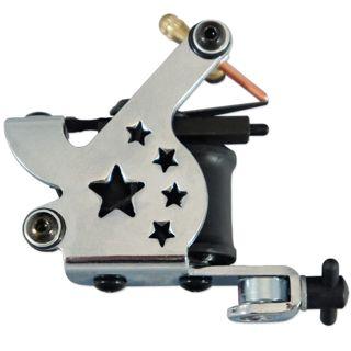 NEW Chrome Star Tattoo Machine needle gun 10 wrap coils liner shader