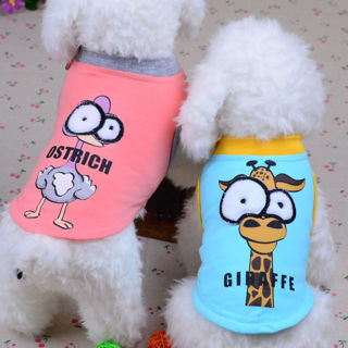 Cartoon Small Pet Dog Clothes Vest Puppy Cat Shirt Summer Apparel Poodle Yorkie