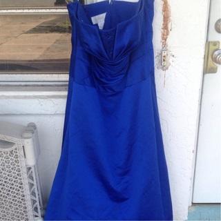 Blue satin gown