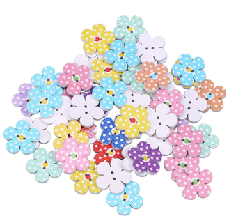 Wooden Buttons 2cm Colorful Flowers 2 Holes Buttons