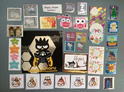☆ 37 Assorted Stickers ☆ ☆ Cats, Hello Kitty, School Rewards & More