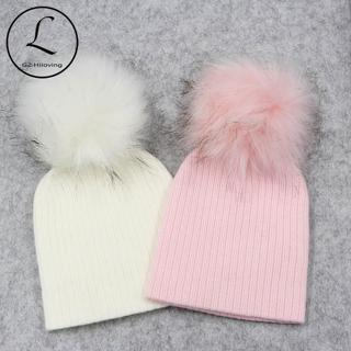 Thick Warm Baby Hat Knit Ribbed Cotton Solid Baby Pompom Hats For Boys Girls Spring Autumn Winter