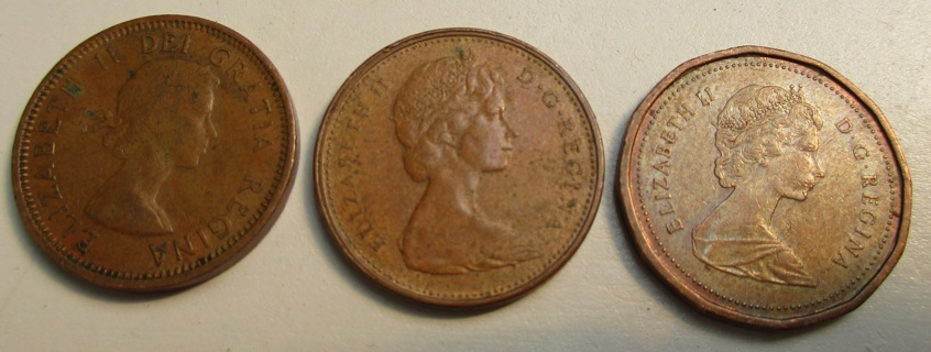 Three Canadian Maple Leaf One Cent Pieces