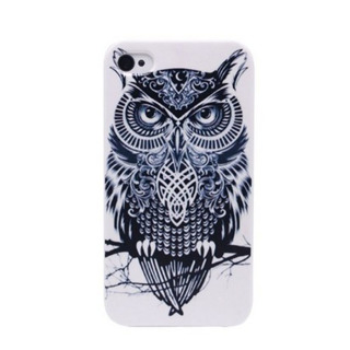 Black And White Cute Owl Hard Back Case Cover For Apple iphone 4 4G 4S