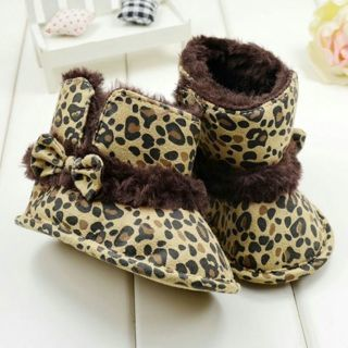 Newborn Bowknot Leopard Suede Fur Snow Boots Fashion Baby Girls Warm Crib Shoes