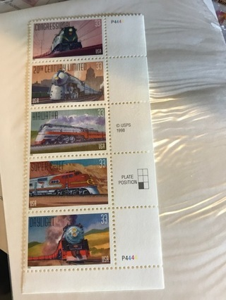 US Mint Stamp Block 'All Aboard' SC#3333-37 MNH OG Really Beautiful Stamps!