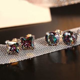 [GIN FOR FREE SHIPPING] Square Round Rainbow Topaz Gemstone 925 Sterling Silver Earrings