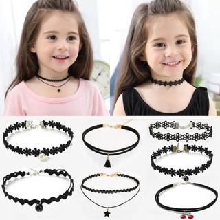 11PCS Fashion Pretty Girls Black Multi Layer Lace Chains Necklace Kids Exquisite Gothic Stretch Ch