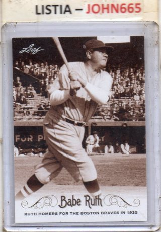 Babe Ruth - 2016 Leaf #80 ... Mint .... Yankess ... Free S/H... Get it by XMAS