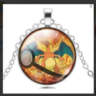 Pokemon Silver Plated Pokeball Jewelry CHARIZARD Crystal Cabochon Necklace Pendant Long Necklace