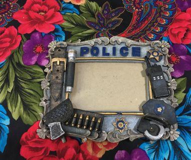 POLICE GIFT CERAMIC PICTURE FRAME BLUE LIVES