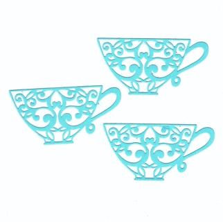 Light blue Teacup Embellishments - lot of 3