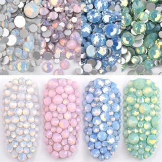 1 Pack 350pcs 1.6mm-4.7mm Crystal Colorful Nail Gems Opal Nail Art Rhinestones Flatback Glass Ston