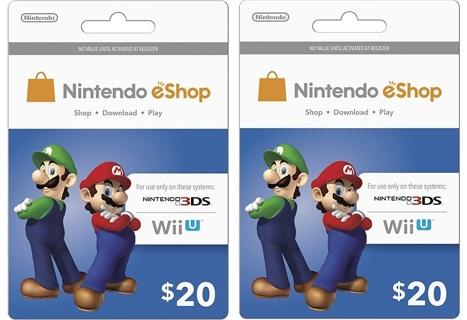 Free: $40 Nintendo ($20 x 2) eShop Gift Cards for Nintendo