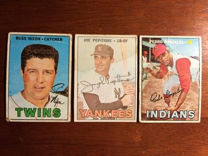 Free Set Of 3 Topps 1967 Vintage Baseball Cards Joe Pepitone Pedro