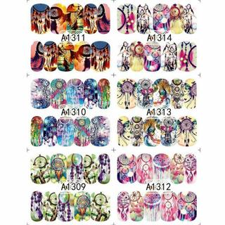 12 Sheets Dreamcatcher Water Transfer Nail Art Decoration Stickers Decals DIY
