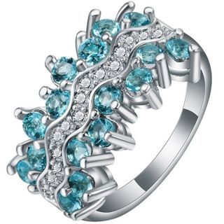 Women 925 Silver Natural Aquamarine Ring Engagement Wedding Jewelry Size 6-10