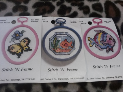 Small Lot Stitch N Frame Counted Cross Stitch Items Plus Embroidery / Needlepoint Thread
