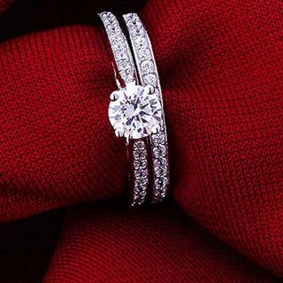 2 pc wedding ring set new sz 5-9
