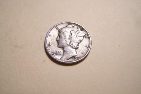 Silver 1944 Winged Liberty Head Mercury Dime