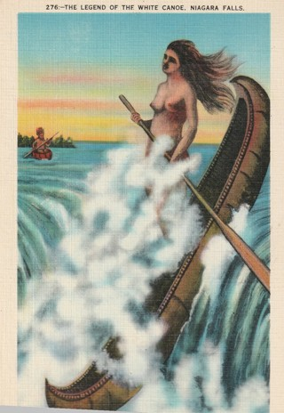 Vintage Unused Postcard: Linen: Legend of the White Canoe, Niagara Falls, NY