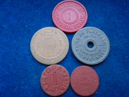 U.S. OPA TOKENS WWII RED 1941 SALES TAX