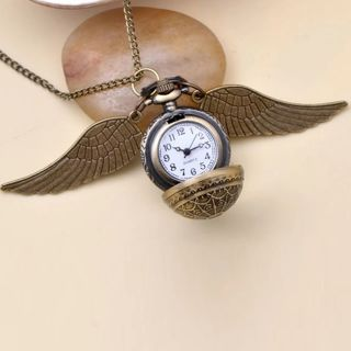 Fashion Jewelry Vintage Charm HP Snitch Wings Quartz Pocket Watch Necklace