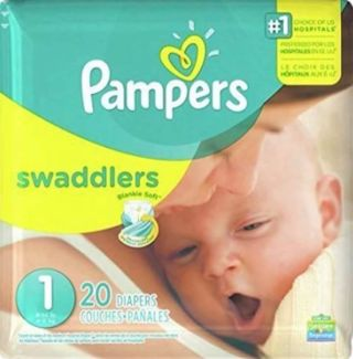❤ 40 - PAMPERS SWADDLERS SIZE 1 ~ 2 PACKAGES OF 20=40 ~ FACTORY SEALED ❤