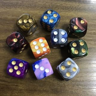 10Pcs Round Corner Pearl Gem Dice 6 Sided 16mm Dice Playing