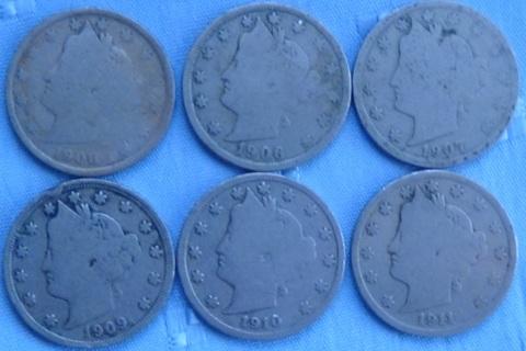 Liberty Nickels, 1906, 1907, 1908, 1909,1910, 1911