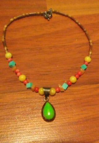 Vintage Estate Sale Sterling Gemstone Necklace