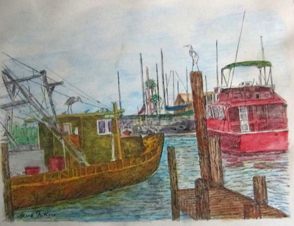 "8 x 10"" colored PRINT - boats"