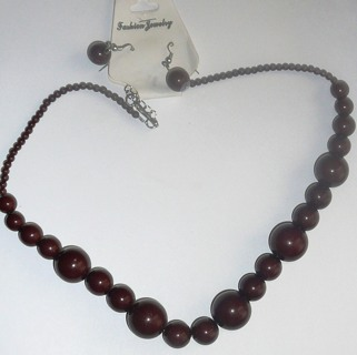 New Fashion Jewelry Beaded Brown Necklace with Matching Earrings