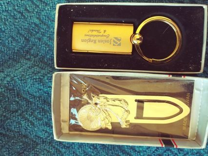 Golden Book mark and Key chain. NEW