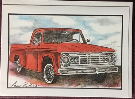"RED DODGE TRUCK - 5 x 7"" art card by artist Nina Struthers - GIN ONLY"