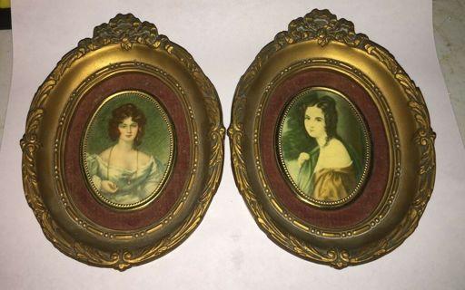 2 Antique Cameo Creation Mrs. Croker & Lady Hamilton Frames see desc. 6d