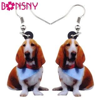 Bonsny Acrylic Cute Sitting Basset Hound Dog Earrings Big Long Dangle Drop Fashion Animal Jewelry