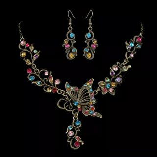 Retro Butterfly Crystal Rhinestone Bridal Necklace Earrings Set Women Jewelry