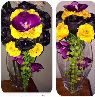 New BB's Bouquets REAL TOUCH PU ORANGE PURPLE BLACK BOUQUET WEDDING HOME DECOR !! Convertible
