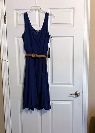BNWT Women's Gauze Overlay Tulip Hem Navy Summer Dress w/ Belt - Size 12