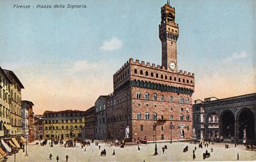 Vintage Unused Postcard: Plaza in Florence, Italy