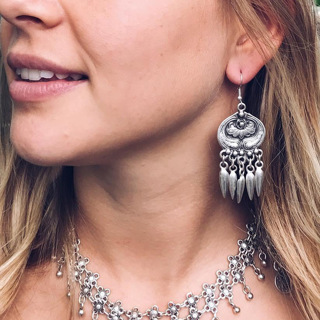Bohemian Fashion Feather Pendant Tassel Silver Earrings Carved Round Flowers Ladies Beach Party