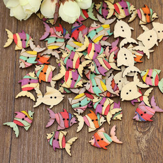 50PCs 28mm Cute Colorful Painting Fish Pattern Buttons 2 Holes Wood