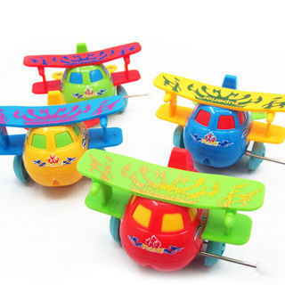 Kids Children Classic Clockwork Toys Plastic Airplane Model Wind Up Hobbies Toy
