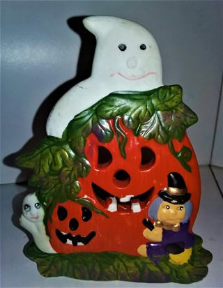 "Heavy (11 oz.) ceramic Halloween decoration with candle - size 5"" X 4"""